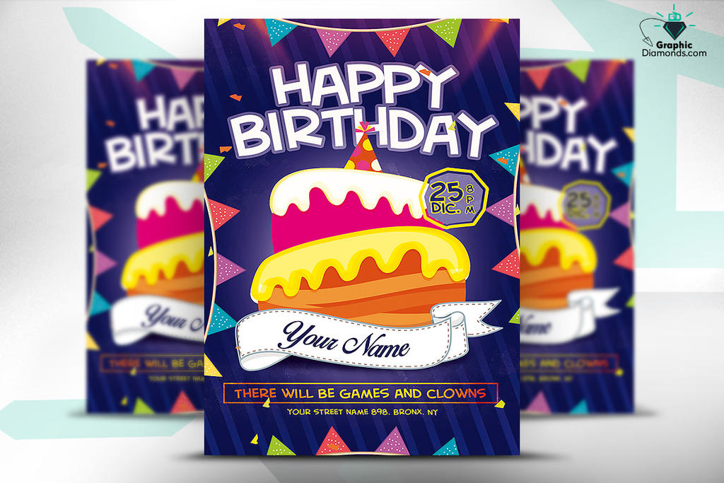 Kids Happy Birthday Flyer Psd Template By Graphicdiamonds On Deviantart