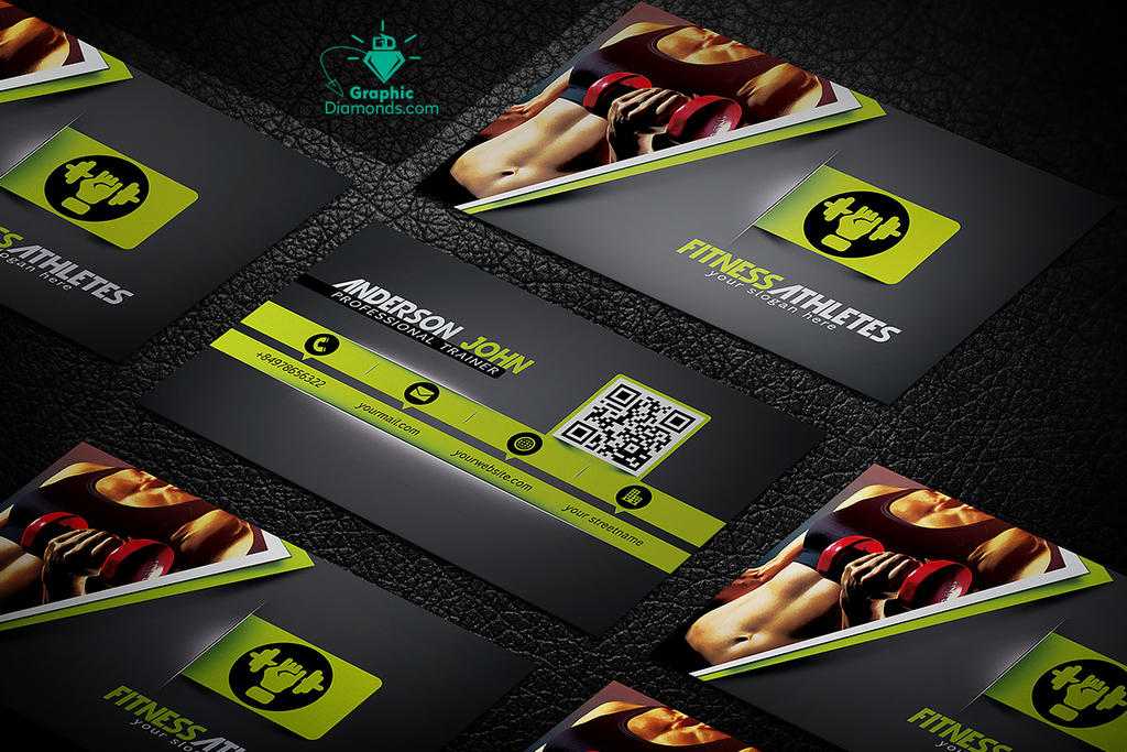 Gym Fitness Business Card Template By GraphicDiamonds On DeviantArt - Fitness business card template
