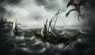 Dragon with ship by perilousrealms