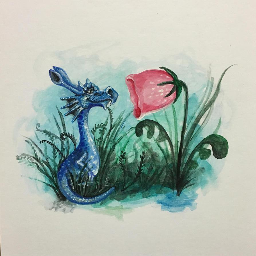 Dragon meets flower by perilousrealms