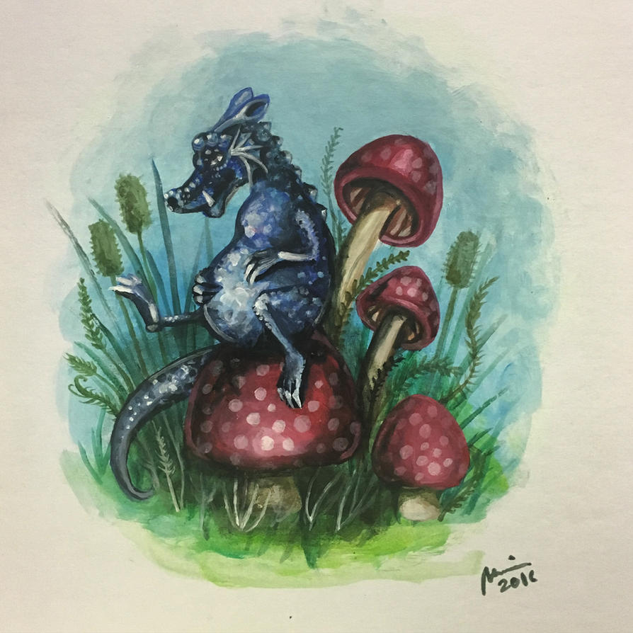 Dragon with a side of shrooms by perilousrealms