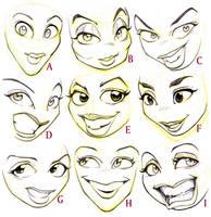 Female Cartoon Faces by JoniGodoy