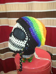 Custom Crochet Rainbow Slouch Hat w/ Flaps