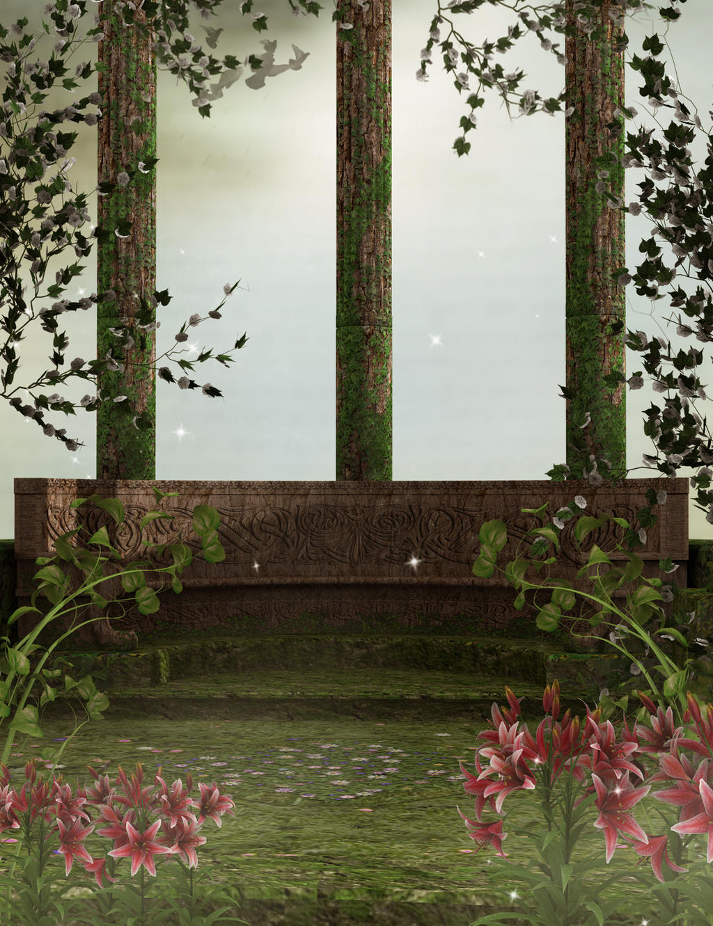 Enchanted balcony background by everildwolfden on deviantart for Balcony view wallpaper