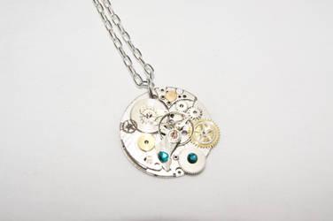 Vintage Clock Gears Necklace