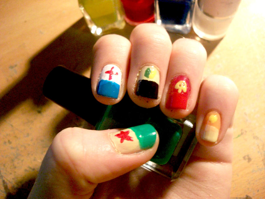 Keroro Gunso . SGT frog Nails by RoxysSlushPuppie on DeviantArt
