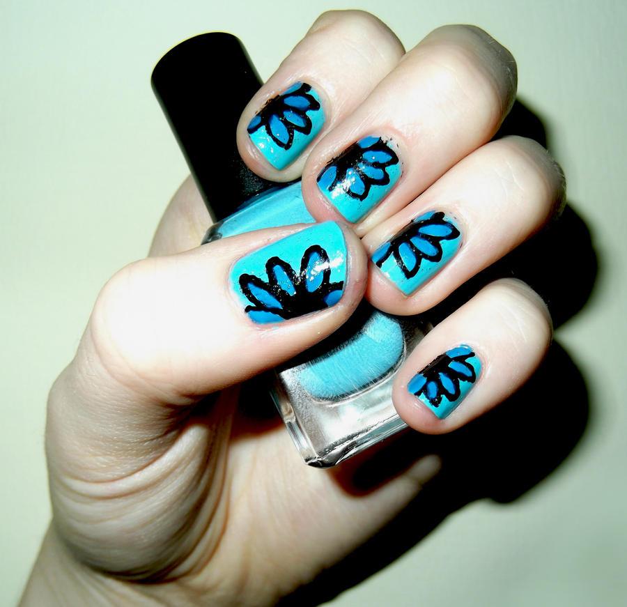 Nail Art Blue Floral: Blue Flower Nails By RoxysSlushPuppie On DeviantArt