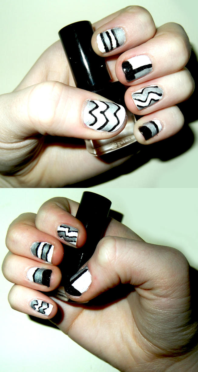 Black And White Patterned Nails By RoxysSlushPuppie On