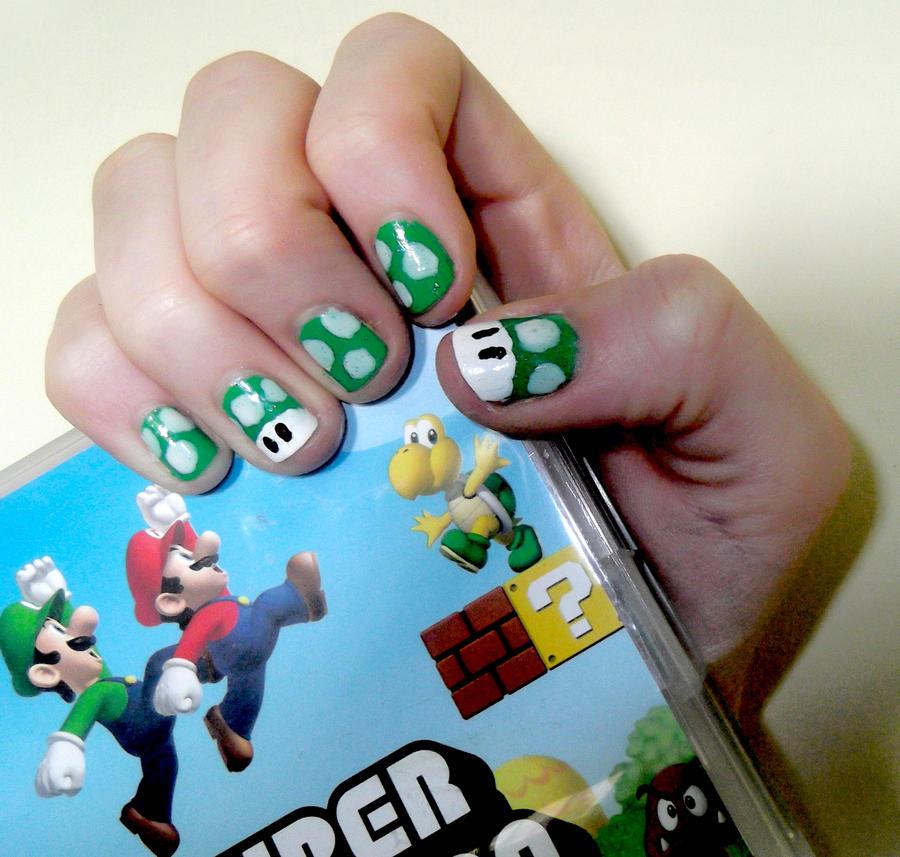 Green Super Mario Mushroom Nails by RoxysSlushPuppie on DeviantArt
