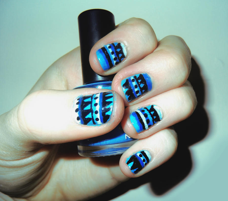 Blue Tribal Nails by RoxysSlushPuppie on DeviantArt