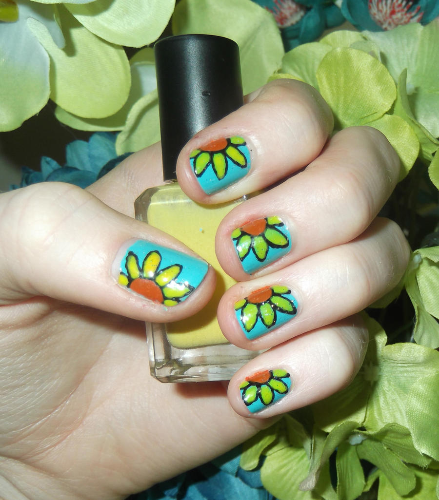Sunflower Nails by RoxysSlushPuppie