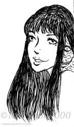 Beautiful Tomie (lineart) by LoKIMOOn1000