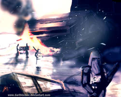 AT-AT Down ( Battle of Hoth ) by DarthTemoc