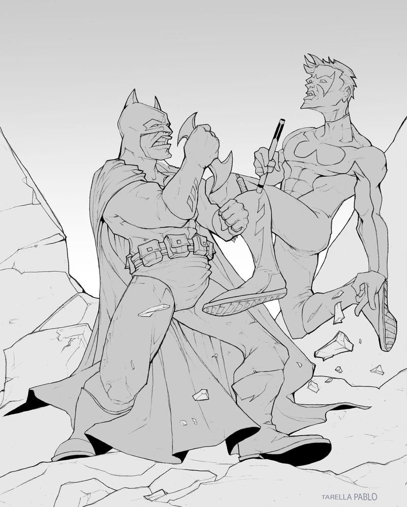Batman vs Nightwing by Tarees