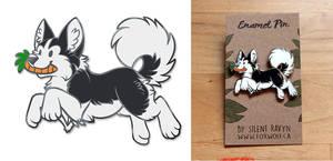 Husky and Carrot Enamel Pin