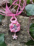Fairy Blossom- handsculpted necklace with cabochon