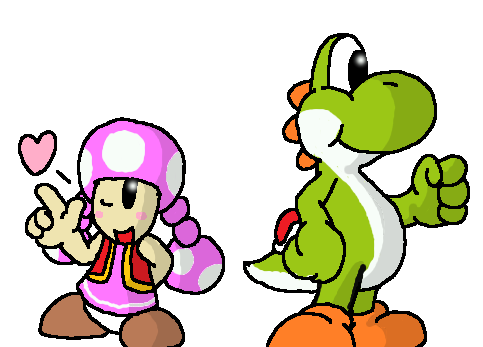 Yoshi and Toadette