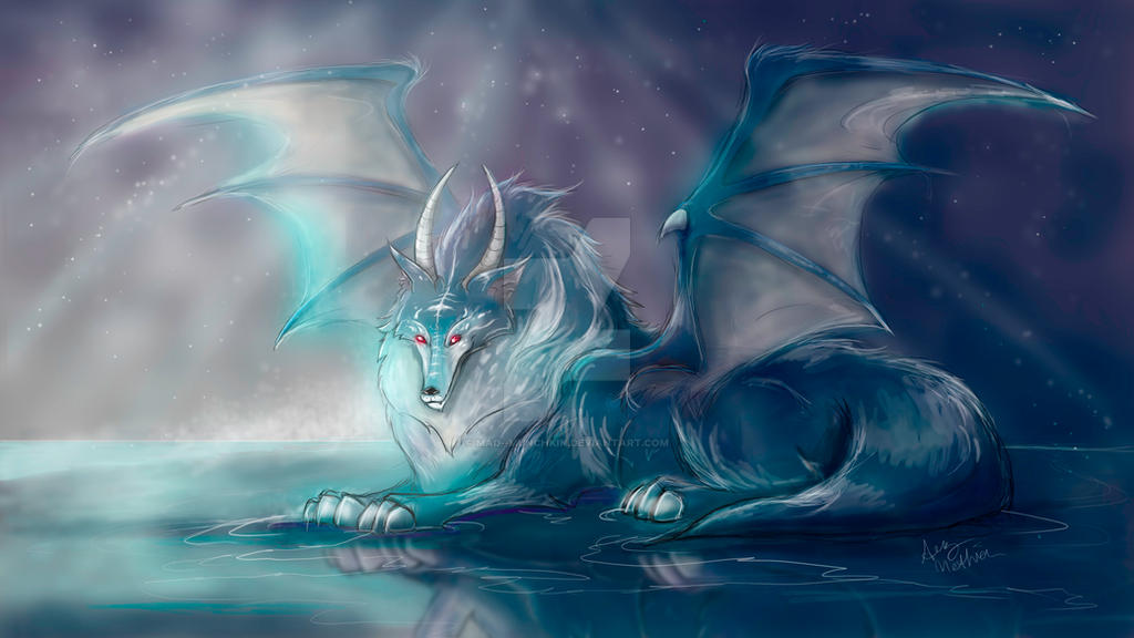 Ice Berg, the Winged Ice Wolf by Mad--Munchkin