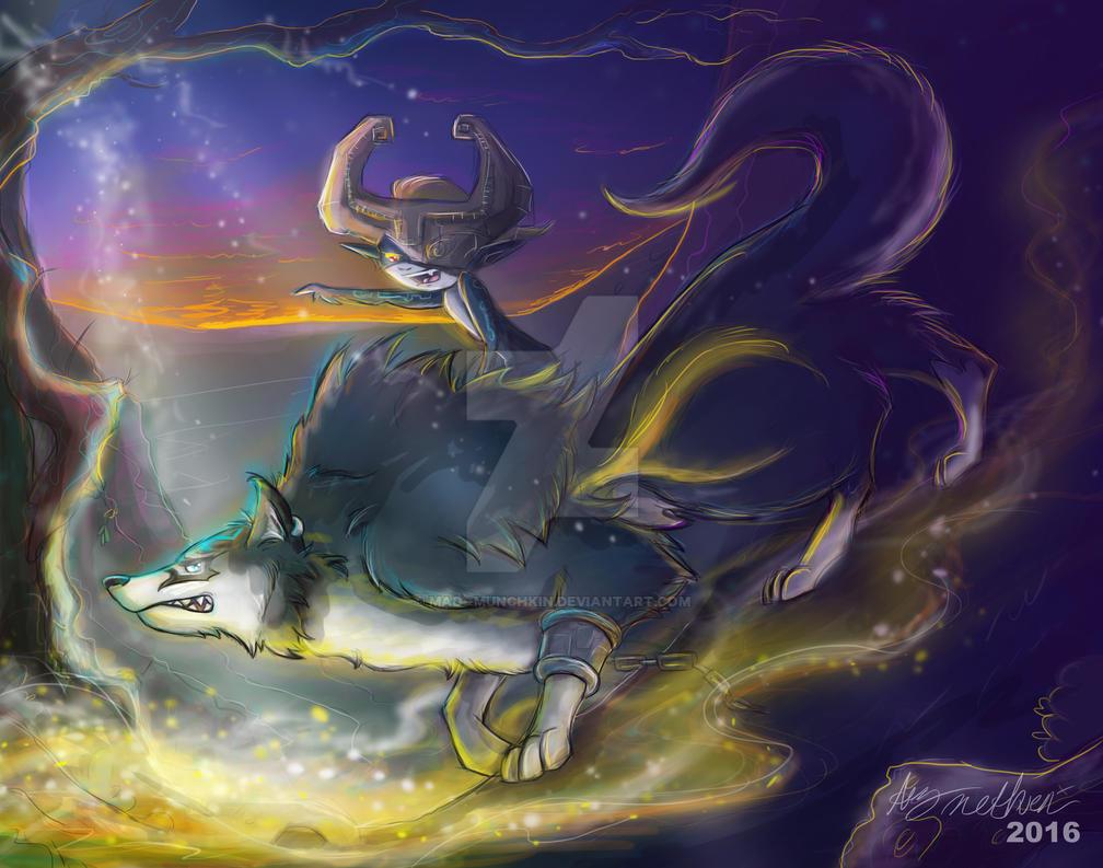 Legend of Zelda, Twilight Princess Linka and Midna by Mad--Munchkin