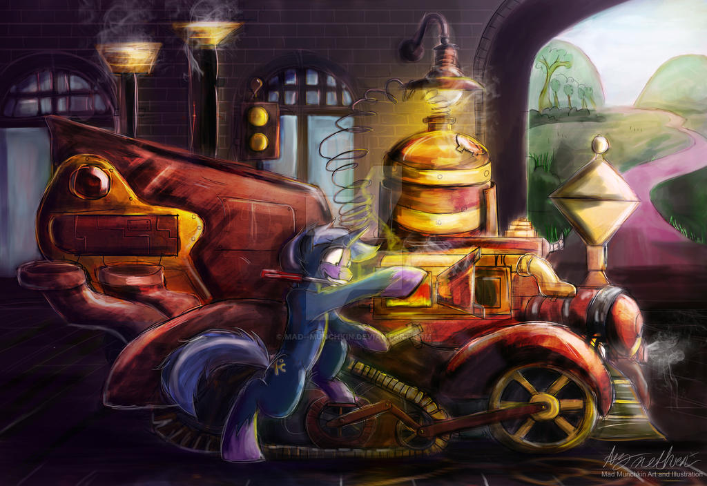 Commission 'Sir Ket Working on a steampunk engine' by Mad--Munchkin