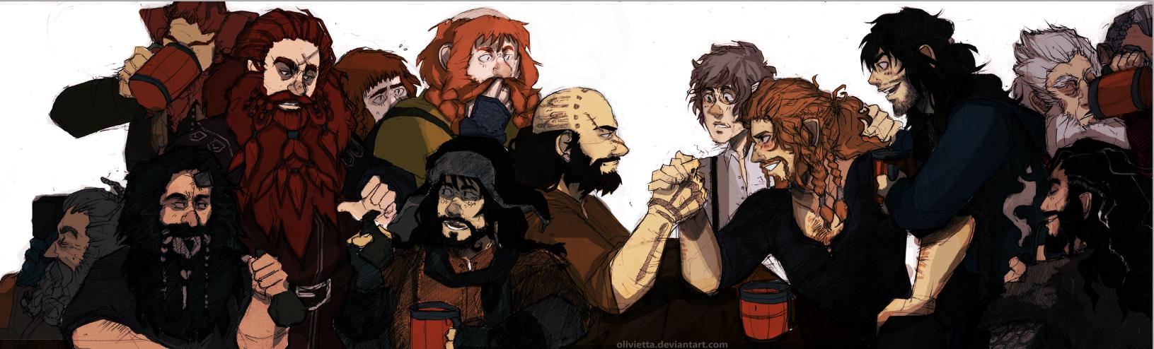 hobbit:13 dwarves+bilbo baggins. by Olivietta