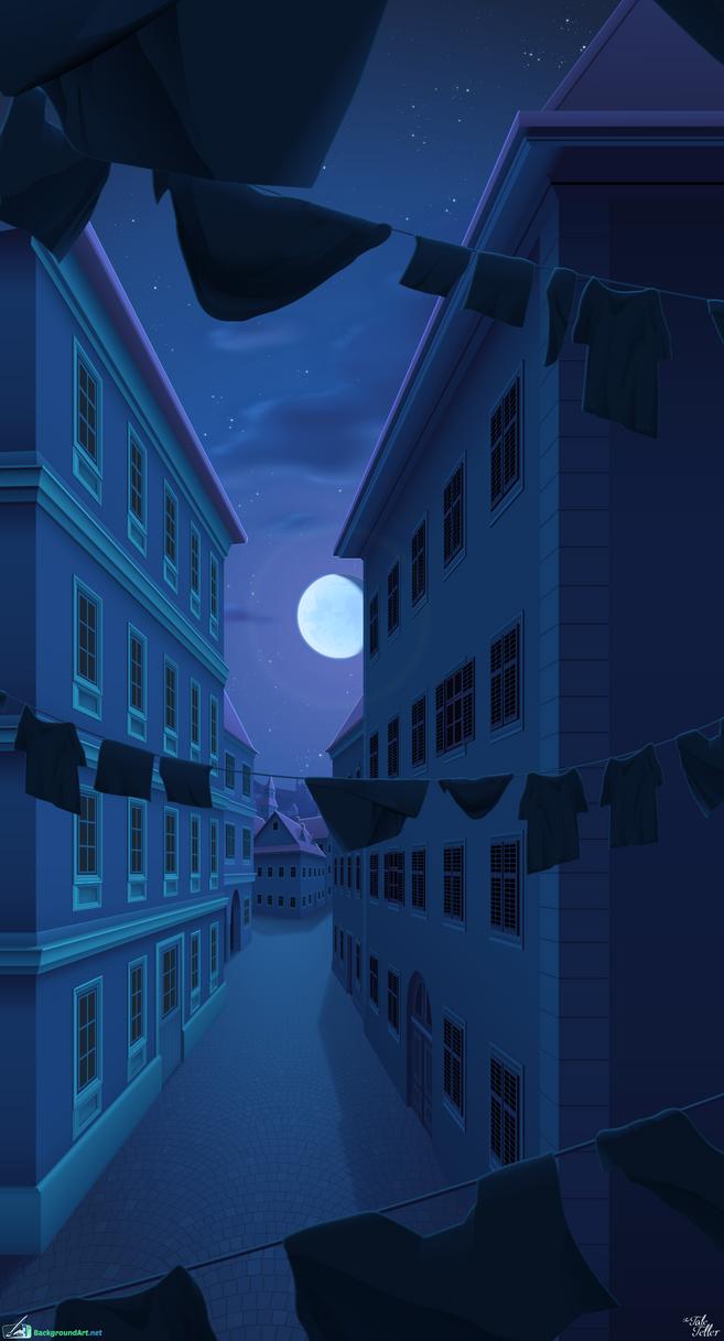 A Street with Little Light - The Tale Teller by zeedox