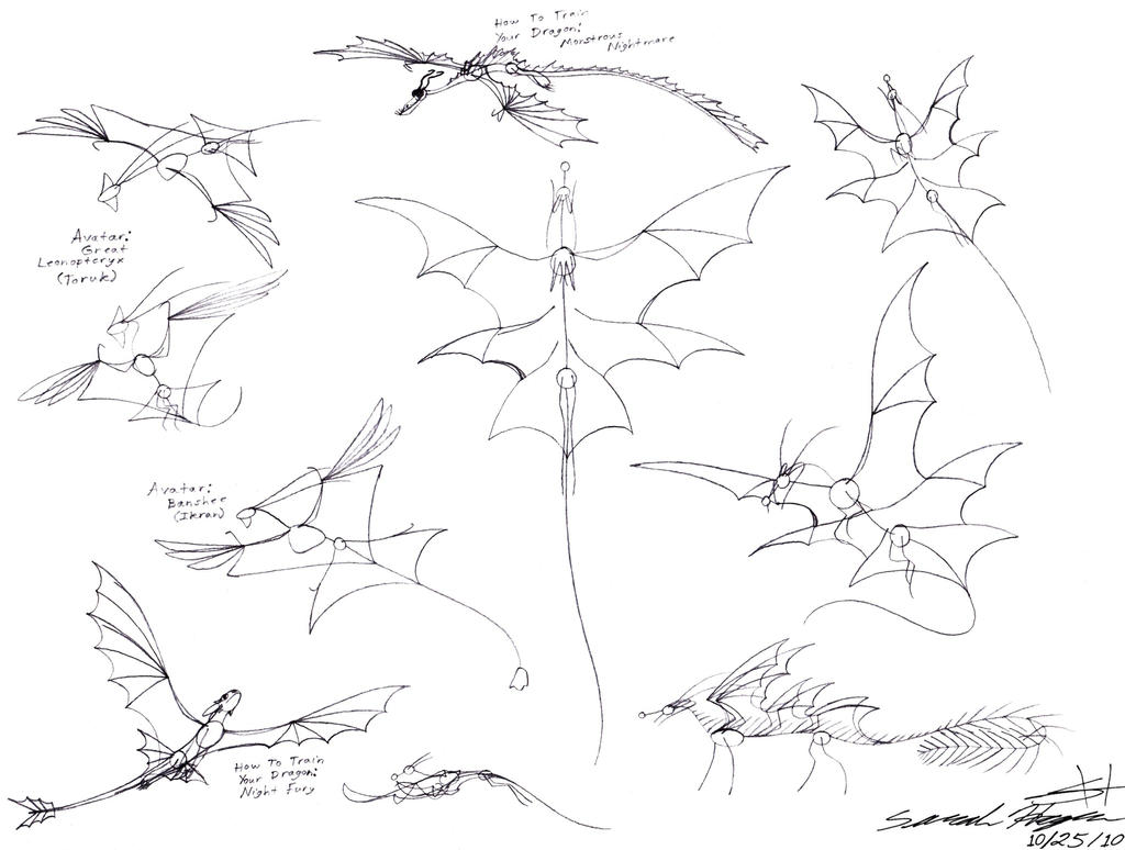 Avatar great leonopteryx drawing dragon armature sketches by
