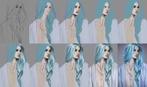 Blue hair (study). Steps