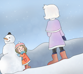 Snowman and Sisters by Flamme2