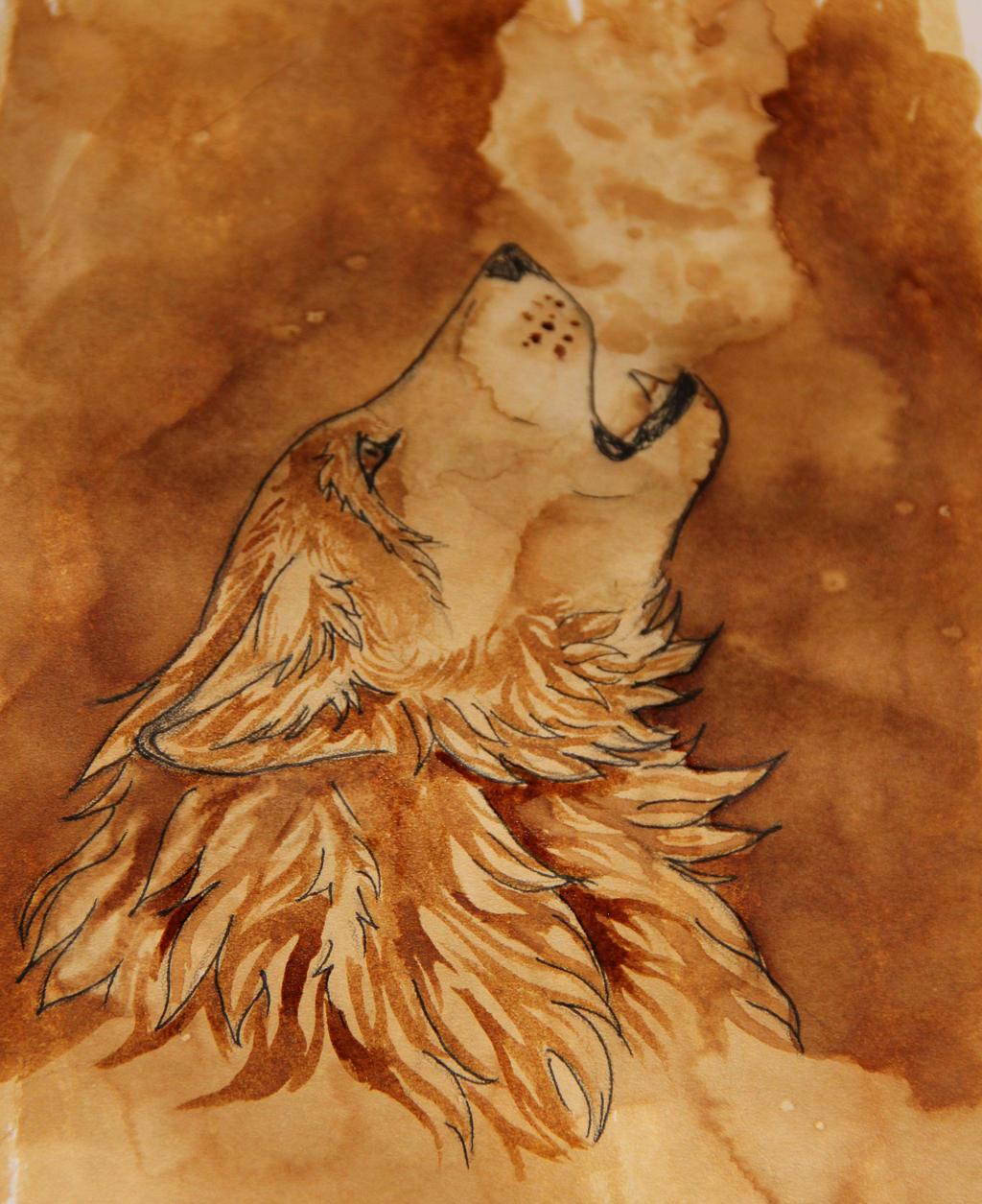 Coffee wolf by RainbowWolfy