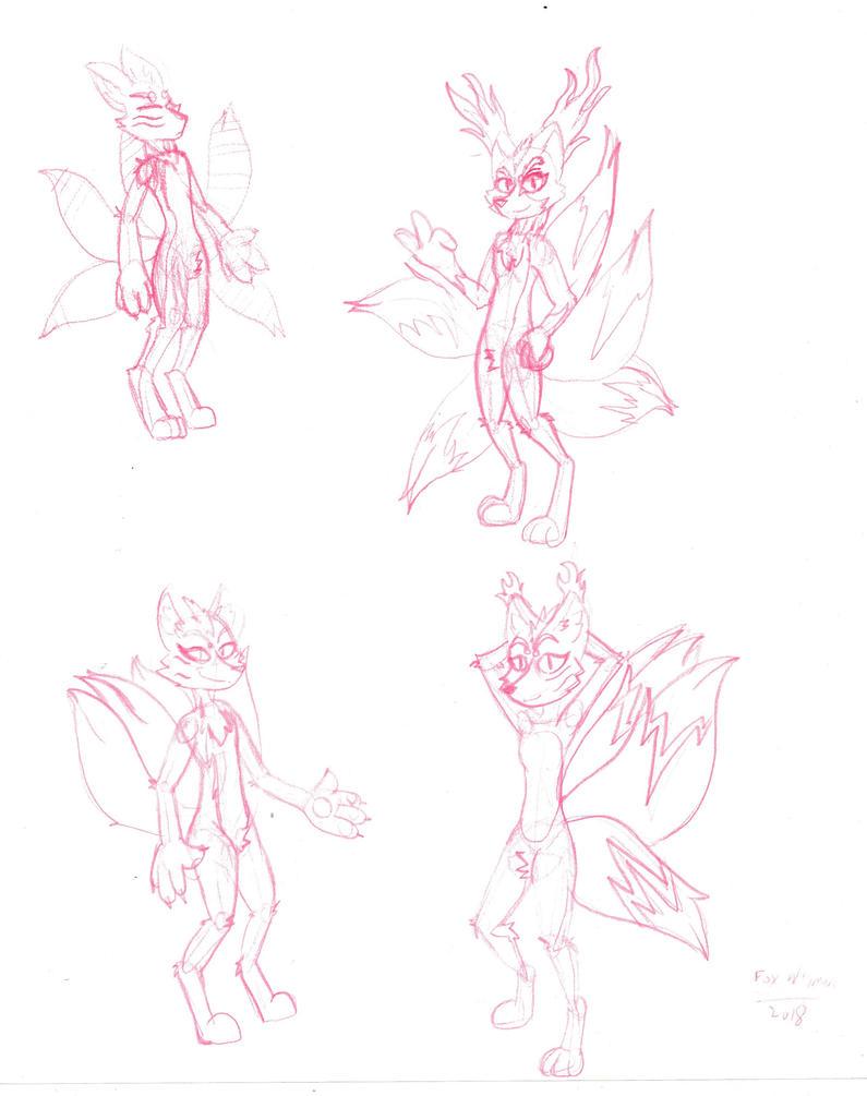 Kitsune concept sketches by DrJoshfox