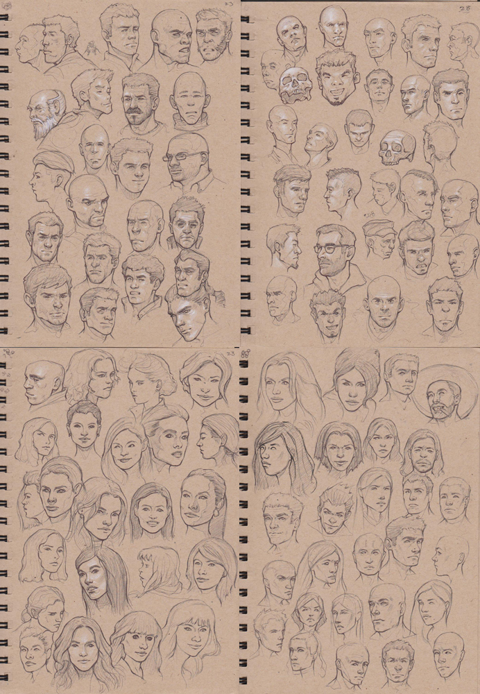 100 Head sketches by Sam-Peterson