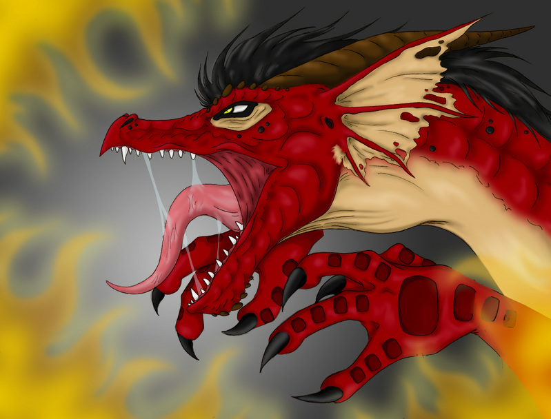 angry dragon colored by yuugi90 on deviantart