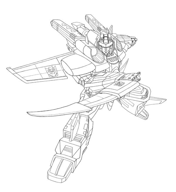 Armada starscream black white by arok318 on deviantart for Transformers coloring pages starscream