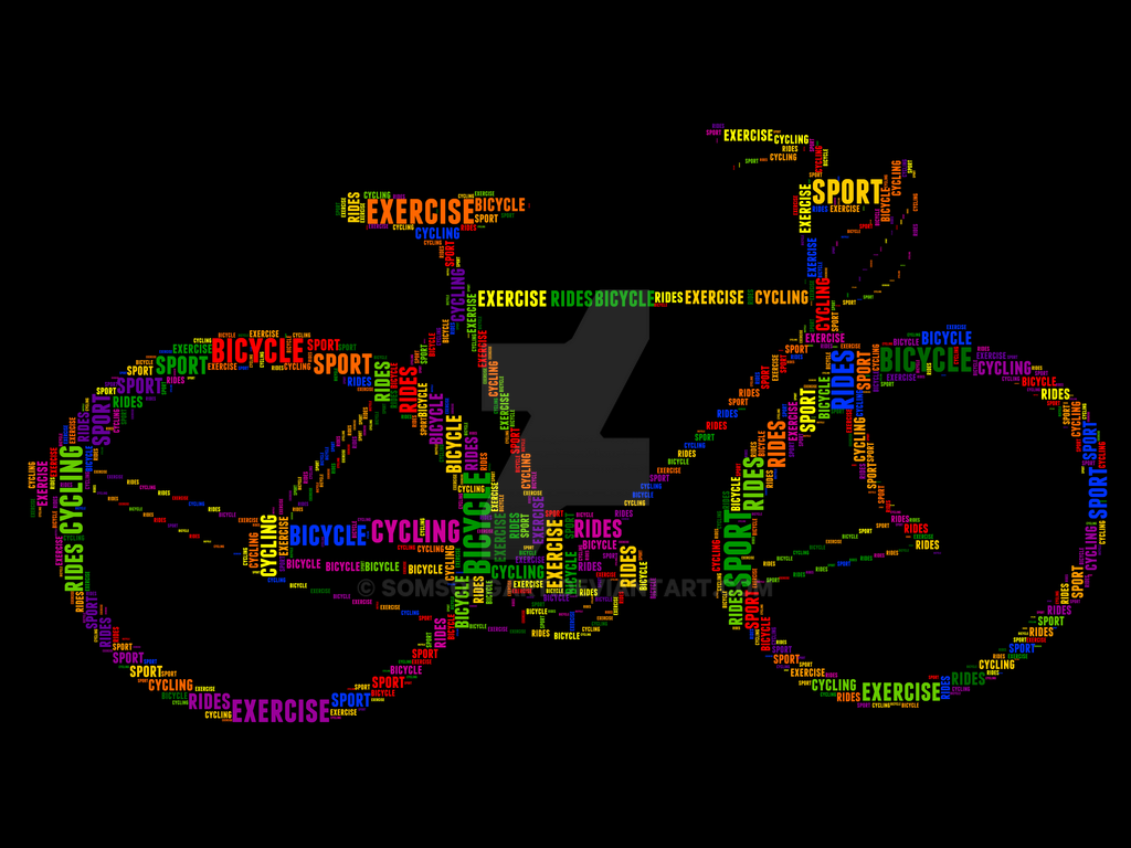 Bicycle 5 Typography by somsongart