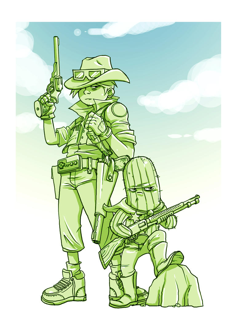 W.I.P cowboy and cacti by ah-tan