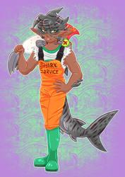 Saber the Tiger Shark - Splatoon OC by Arxielle