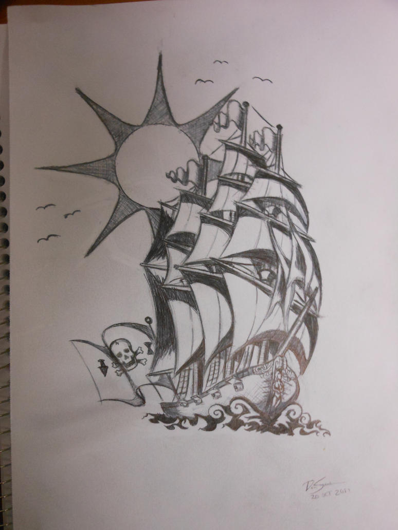 Pirate Ship Tattoo Outline Pirate Ship Tattoo Design by