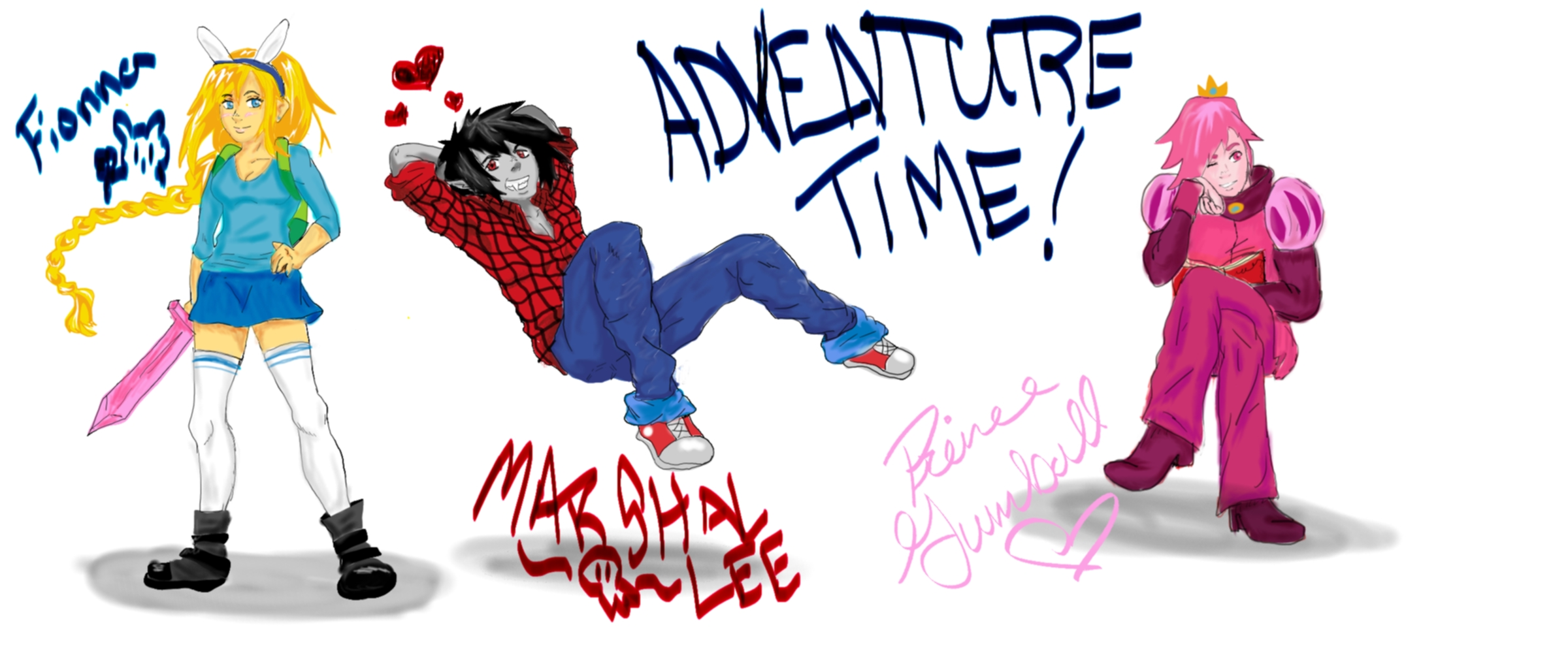 Adventure Time W/ Fionna, Marshal Lee, And GumBall By