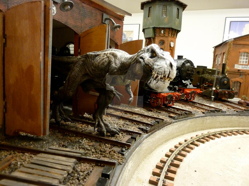 curious T-Rex explores train-depot by Polihierax
