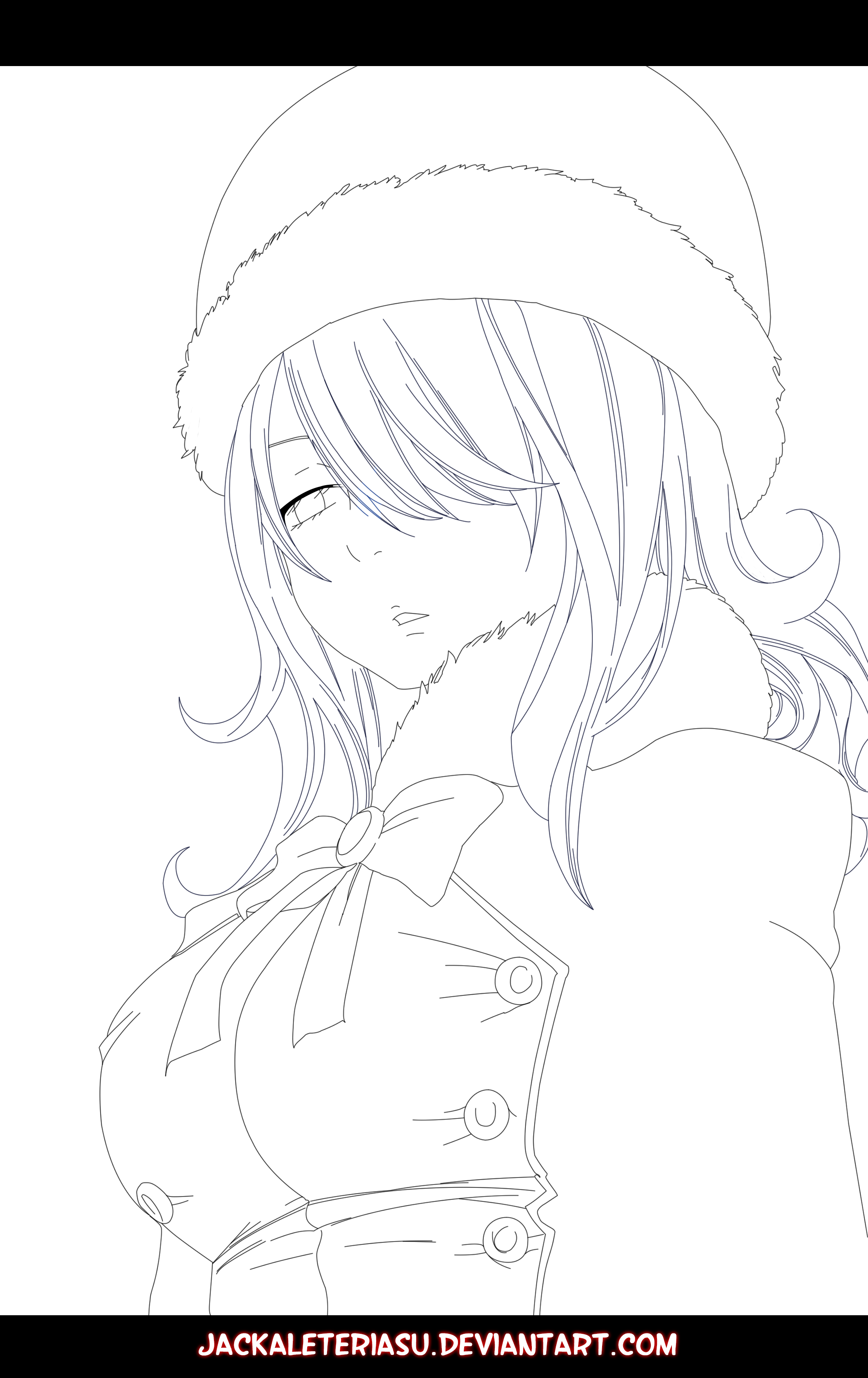 Juvia Lineart : Fairy tail juvia lineart by jackaleteriasu on deviantart