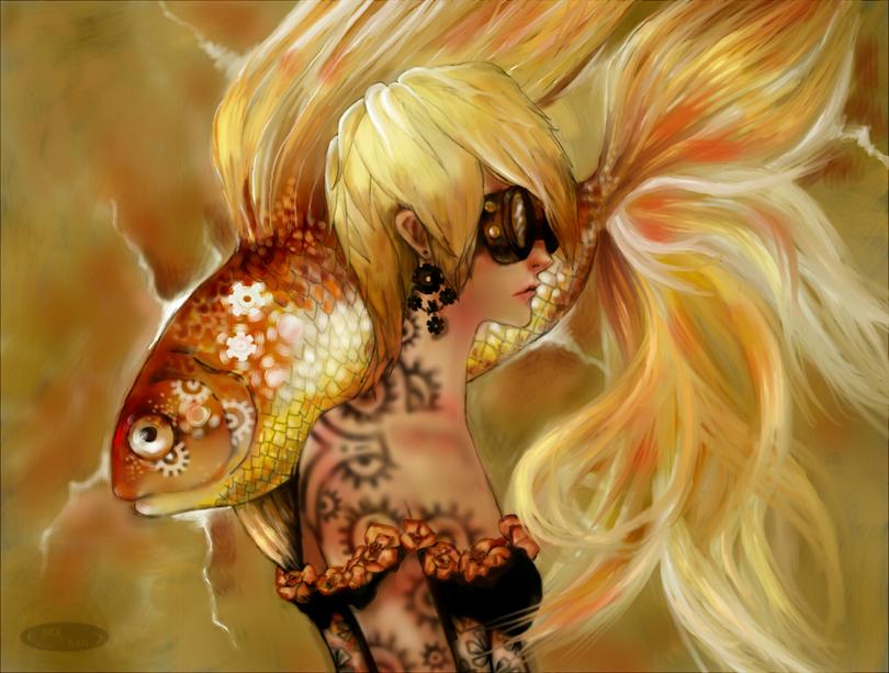 Golden Steampunk Fish by DZIU09