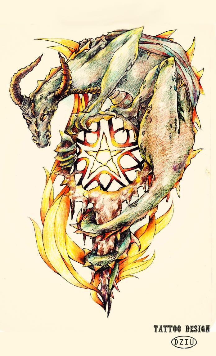 Tattoo design_Dragon by DZIU09