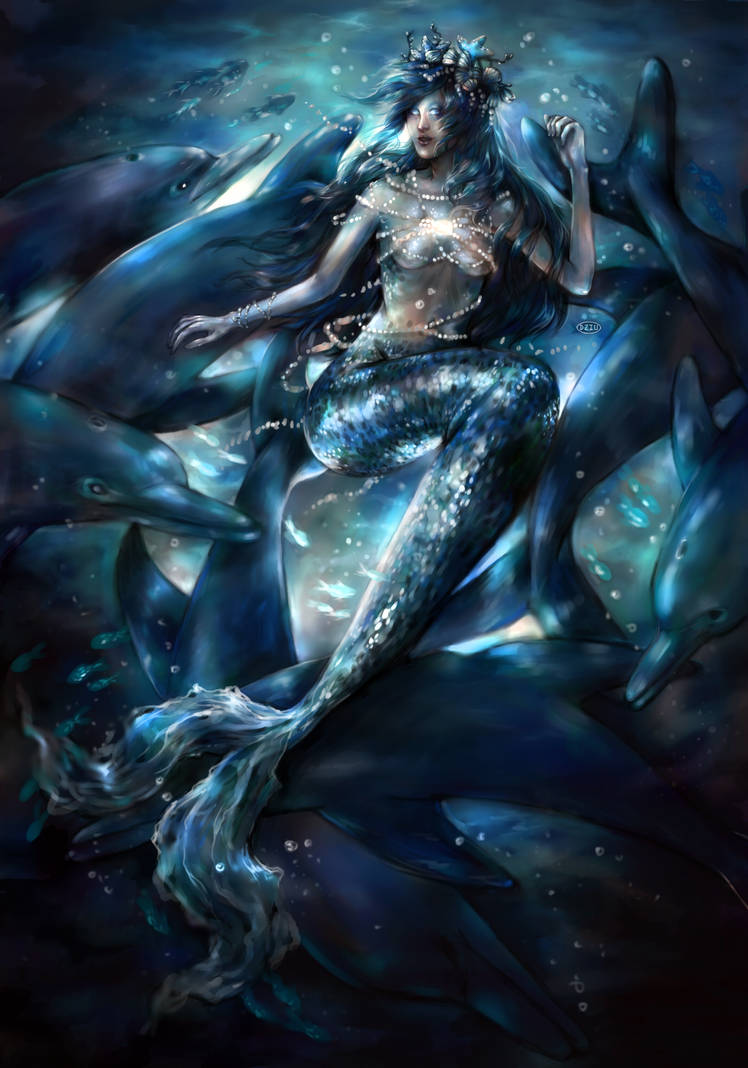 Mermaid: playing with dolphins