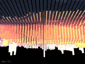 3D Sunset Abstract Landscape