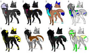 Scene Wolf Adoptables Batch -CLOSED- by SplashTheCrazyWolf