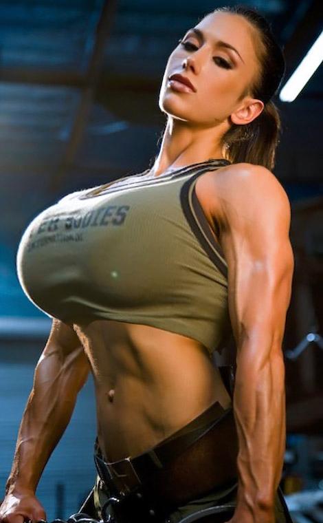 Busty girl muscle moans
