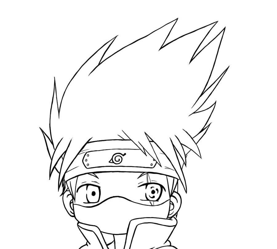 Chibi kakashi lineart by hyliansword on deviantart for Chibi naruto coloring pages