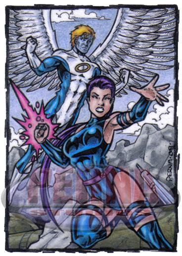 Psylocke Angel Sketch Card by tonyperna
