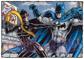 Catwoman Vs. Batman Sketch Cards by tonyperna